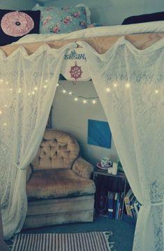college dorm storage ideas | Loft bed with curtains: Dorm Room, Dormroom, College Life, Room Ideas ...