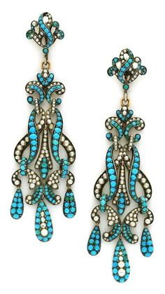 A Pair of Antique Turquoise and Seed Pearl Pendant Earrings, circa 18th century. Available at FD Gallery.