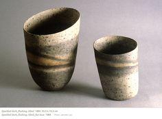 Jennifer Lee - ceramics - works  NTS: iron ox wash, black splutter, yellow ochre, gray bfired. matte glaze.