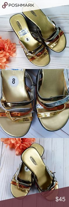SEYCHELLES Silver Gold Bronze Sequin Flip Flops 8 NWT-no box. Some minor imperfections on footbed. Features bronze, gold, and silver crisscrossed straps. So cute for summer!  Thank you for looking and please check out my closet! Seychelles Shoes Sandals