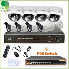 8Ch Network POE Video Security System (NVR Kit)- 8 1MP POE Weatherproof  IP Cameras 65ft Night Vision,2TB HDD +8 port POE Switch