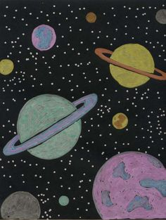 Planet Drawing Fun – Art Projects for Kids. Be sure to use black card stock pape… Planet Drawing Fun – art projects for children. Be sure to use black card paper and Crayola Metallic Markers. They are amazing together. Marker Kunst, Marker Art, Space Drawings, Chalk Drawings, Cool Art Projects, Drawing Projects, Arte Hippy, Chalk Art Christmas, Chalk Art Quotes