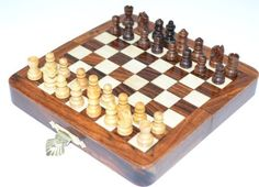 High Quality Deluxe 5 Inches Travel Magnetic Handcrafted Wooden Chess Board with Wood Chess Pieces -- Find out more about the great product at the image link.Note:It is affiliate link to Amazon. #yum