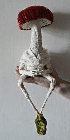 Angle on Artist - Mr Finch, Textile Artist - pilze - Textile Sculpture, Textile Fiber Art, Textile Artists, Soft Sculpture, Mr Finch, Mister Finch, Mushroom Crafts, Mushroom Art, Fabric Dolls