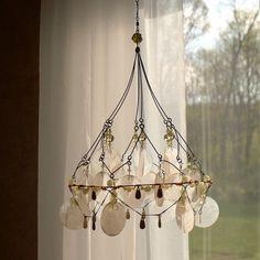 OMG a capiz chandelier!!!  A Summer Breeze Sunshower Chandelier by BellStudios on Etsy