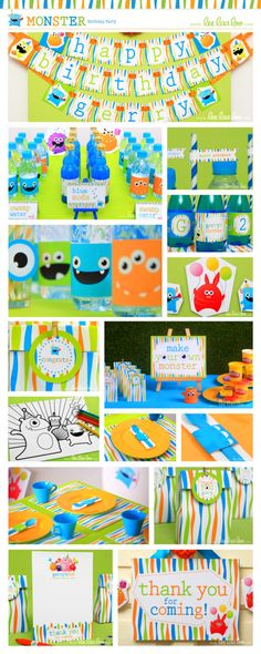 Monster Birthday Party Package Collection Set Mini by LeeLaaLoo, $29.00