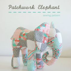 A cute, retro looking patchwork elephant designed by Abby Glassenberg.