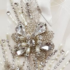 Work in progress, a beaded trim on a by Rachel Lamb Design Beaded Trim, Designer Wedding Dresses, Hand Sewing, Real Weddings, Lamb, Brooch, Fashion, Moda, Sewing By Hand