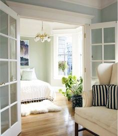 good idea ... french doors to bedroom with curtain for privacy ...