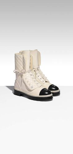 Chanel ankle boots with pearl detail