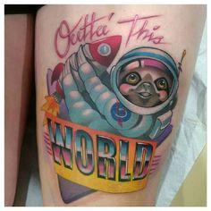 Astro Sloth by @mitchelmonster at Atomic Zombie Tattoo in Edmonton Alberta. #astro #astronaut #sloth #80s #outtathisworld #mitchelmonster #atomiczombietattoo #edmonton #alberta #canada #tattoo #tattoos #tattoosnob