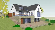 Housing - Collins, Brennan and Assosiates Square House Plans, Metal House Plans, Dream House Plans, Glass House Design, Bungalow House Design, House Designs Ireland, House Plans South Africa, Self Build Houses, Hillside House