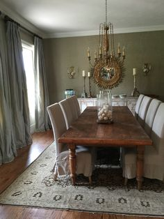 Dining Room complete. Antique French table. Silk draperies w Greek key. Zoffany wallpaper.
