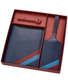 Fossil Men's Leather Passport & Luggage Tag Set - Blue