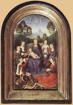 Diptych of Jean de Cellier ca 1475 Hans Memling Links twee vrouwen met een andere kleur bovenlijfje dan de rok!