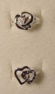 Size 6 Lot of 2 Designs Silver Heart Rings Plated Girls Teen Christmas Present