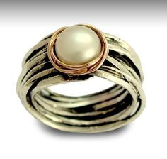 Sterling silver and rose gold ring with pearl by artisanlook