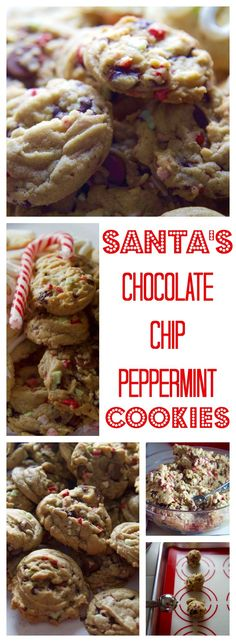 Make Santa's Chocolate Chip Peppermint Cookies with candy cane peppermint crunch, chocolate chips, and minty creme de menthe chips and leave out for Santa!