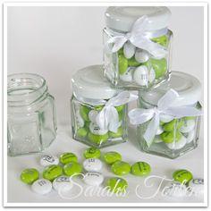 wedding give away treats - bedruckte M im Glas Namen, Datum, Eheringe