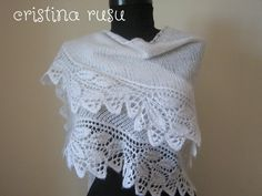 White knit lace shawl hand knitted lace by CrisColourCrochet