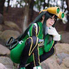 Anime My Boku no Hero Academia Asui Tsuyu Wig Cosplay Anime Cosplay Girls, Anime Cosplay Costumes, Epic Cosplay, Cosplay Characters, Cute Cosplay, Amazing Cosplay, Cosplay Outfits, Cosplay Wigs, Bts Anime