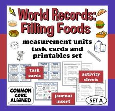 Your kids will love learning about food-related world records so much that they won't even realize they are practicing math!    Includes 32 task cards, reference sheet, assessment activities, and even material for differentiating for your high-flyers in need of extension! $