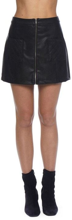 BB Dakota Cohen Faux Leather Quilted Skirt