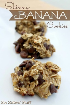 Skinny banana cookies-these are way good, and only have bananas oats and choc chips! Healthy easy dessert!!