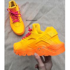 Summer Fade Nike Air Huarache Summer Fade Huarache Nike Huarache... ($190) ❤ liked on Polyvore featuring shoes, athletic shoes, dark orange, sneakers & athletic shoes, tie sneakers, unisex adult shoes, waterproof footwear, waterproof athletic shoes, real leather shoes and genuine leather shoes