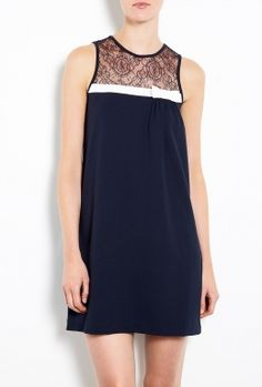 Contrast Bow Sleeveless Dress by Red Valentino