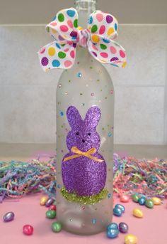 Easter Wine Bottles Decor/Crafts by DvineBottleShop on Etsy Wine Bottle Corks, Glass Bottle Crafts, Bottle Bottle, Painted Wine Bottles, Lighted Wine Bottles, Wine Glass, Decorated Wine Bottles, Glass Bottles, Cork Crafts