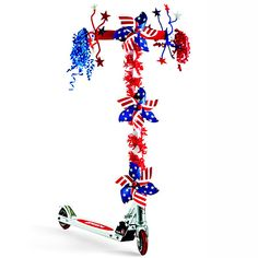 Host your own Fourth of July parade and let the kids decorate their bikes and scooters for the occasion. Supply them with pinwheels, ribbon, chenille stems, and more. If you're hosting a big crowd with lots of children, sponsor a decorating contest and offer prizes to participants.