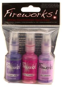 Fireworks! 3 packs. Use with your favorite stencils to create beautiful and bold, or subtle and soft, designs and patterns. purple, pink and lavender. shimmer spray.