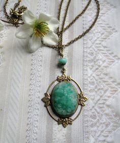 Green glass necklace vintage glass pendant by botanicalbird