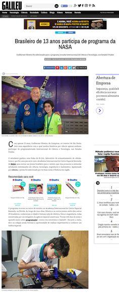 Título: Brasileiro de 13 anos participa de programa da NASA Veículo: Galileu Online Data: 26/10/2016 Cliente: RCrio