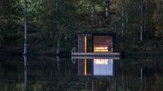 When Milan-based Small Architecture Workshop was asked to design a tiny sauna for a bed and breakfast in Åmot, Sweden, they wanted to do so with minimal Floating Architecture, Architecture Design, Landscape Architecture, Modern Saunas, Bed And Breakfast, Building A Sauna, Green Building, Scandinavian Architecture, Renovation