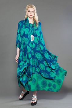 JADE DRESS in Aqua Print Delphi Shown w/ The Convertible One (worn as skirt) and Delphi Scarf