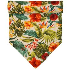 54 inch Bright Tropical Floral Table Runner by Sweet Pea Linens. $15.95. Machine Washable.. Reversible design.. Measures approximately 13 inches wide, 54 inches long.. 100% Cotton outer, with 100% Polyester fill.. Decorate your table with a coordinating Sweet Pea Linens table runner. Sold individually.. 54 inch Orange, Green and Teal Tropical Floral Table Runner. Same fabric on the reverse. Sold as an individual Table Runner.