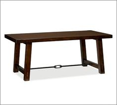 Benchwright Fixed Dining Table - Rustic Mahogany stain | Pottery Barn