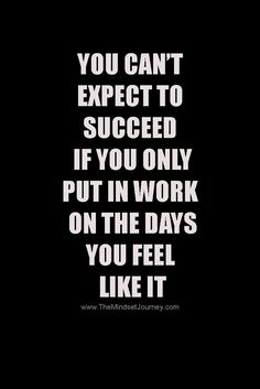 You can't expect to succeed if you only put in work on the days you feel like it PIN
