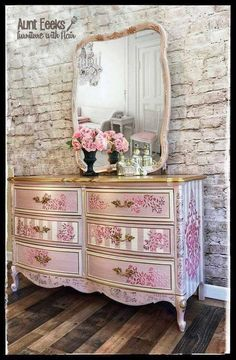 Vintage Furniture SOLD~ Elegant pink and gold Dixie dresser with matching mirror - ~SOLD~ this piece has sold, photos for portfolio purposes only. Funky Furniture, Refurbished Furniture, Shabby Chic Furniture, Furniture Makeover, Vintage Furniture, Furniture Ideas, Furniture Stores, Bedroom Furniture, Furniture Outlet