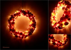 Glowssoms wreath - coiled paper + string of led lights