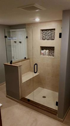 Amazing Small Master Bathroom Shower Remodel Ideas and Design 01 Small Basement Bathroom, Master Bathroom Shower, Tiny House Bathroom, Compact Bathroom, Budget Bathroom, Small Bathrooms, Simple Bathroom, Small Baths, Shower Tub