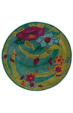 Found it at Wayfair - LR Resources Vibrance Blue Tropical Flowers and Leaves Rug Small Area Rugs, Round Area Rugs, Round Kitchen Rugs, Round Dining, Discount Area Rugs, Floral Rug, Tropical Flowers, Throw Rugs, Floor Rugs