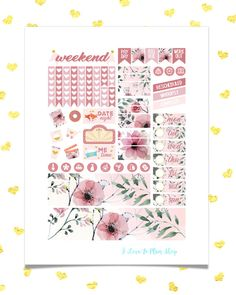 50% OFF SALE/ CHIC Roses Planner Stickers/ Spring Printable