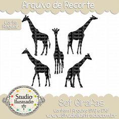 Giraffes Set, Set Girafas, Selva, Jungle, Floresta, Wild Animal, Animal Selvagem, Corte Regular, Regular Cut, Silhouette, DXF, SVG, PNG