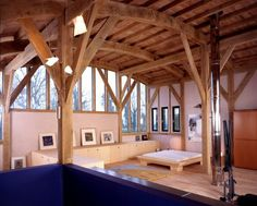 Dramatic curved green oak roof structure with tree-like columns