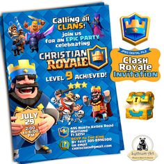 Clash Royale Invitation  Clash Royale Birthday  Clash Royale