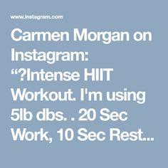 "Carmen Morgan on Instagram: ""😅Intense HIIT Workout. I'm using 5lb dbs. . 20 Sec Work, 10 Sec Rest 1️⃣Squat Jump Punch 2️⃣Side to Side Swings 3️⃣Jump Lunge Laterals 4️⃣Side to…"" • Instagram"