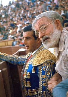 Spanish Matador Antonio Ordonez with Friend, Author Ernest Hemingway in Arena Before Bullfight Ernest Hemingway, Hemingway Cuba, Photo A Day, First Photo, Fernando Vii, The Sun Also Rises, Writers And Poets, American Literature, Book Writer